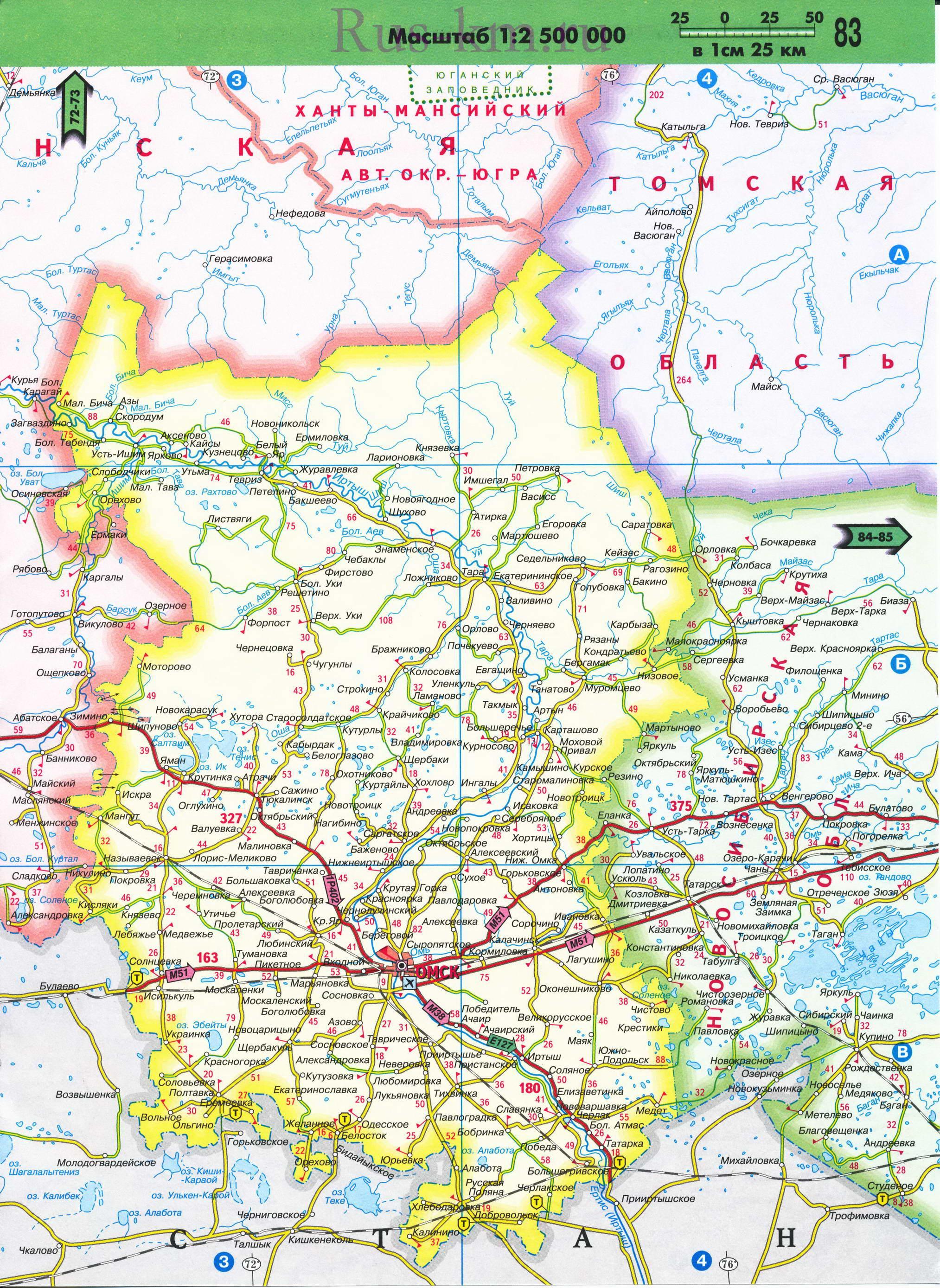 Подробная Карта Западной Сибири С Городами И Реками
