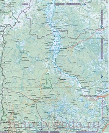 Карта запада Ханты-Мансийского