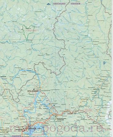 Подробная карта дорог северной