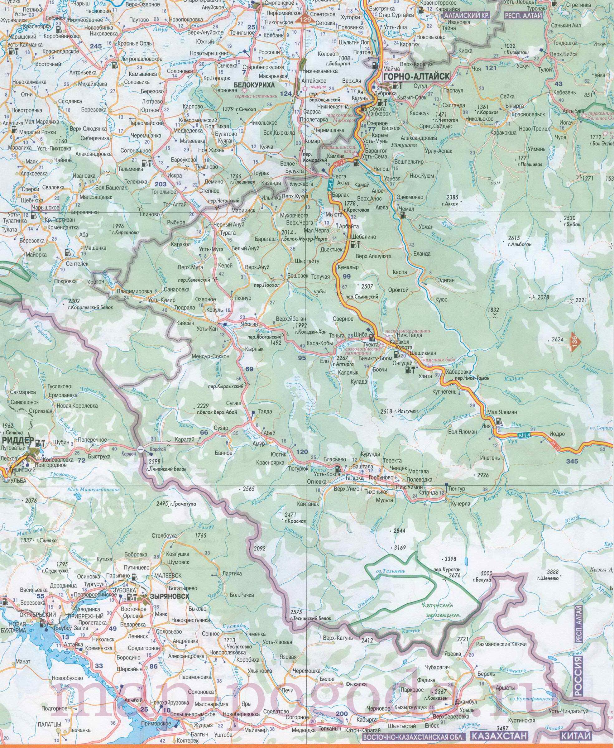 Карта Алтая подробная   Инфокарт – все карты сети