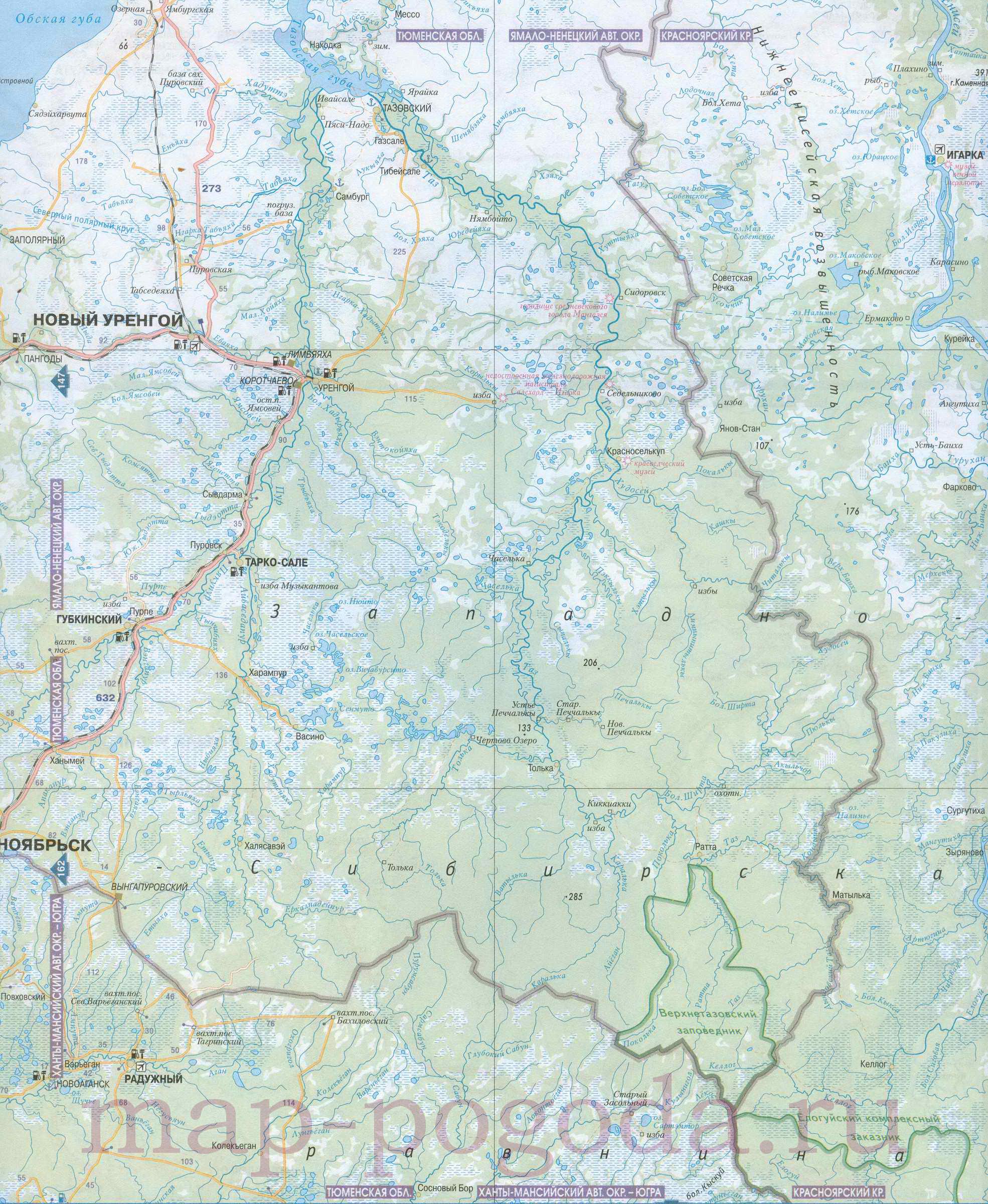 Карта востока ямало ненецкого