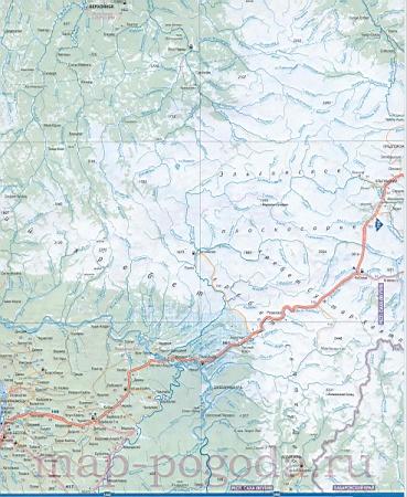 Подробная карта Якутии. Карта