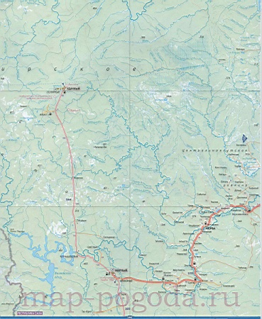 Карта запада Якутии. Подробная