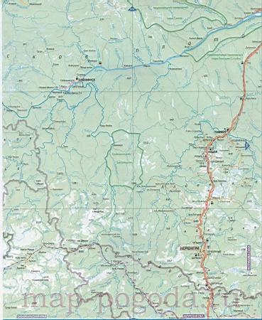 Карта юга республики Саха