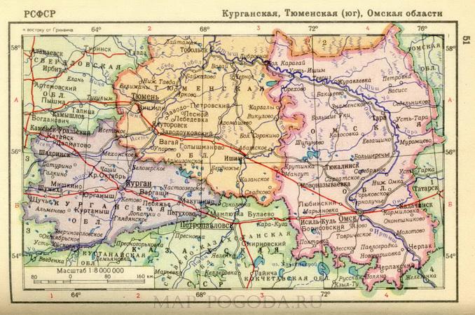 подробная карта омской области