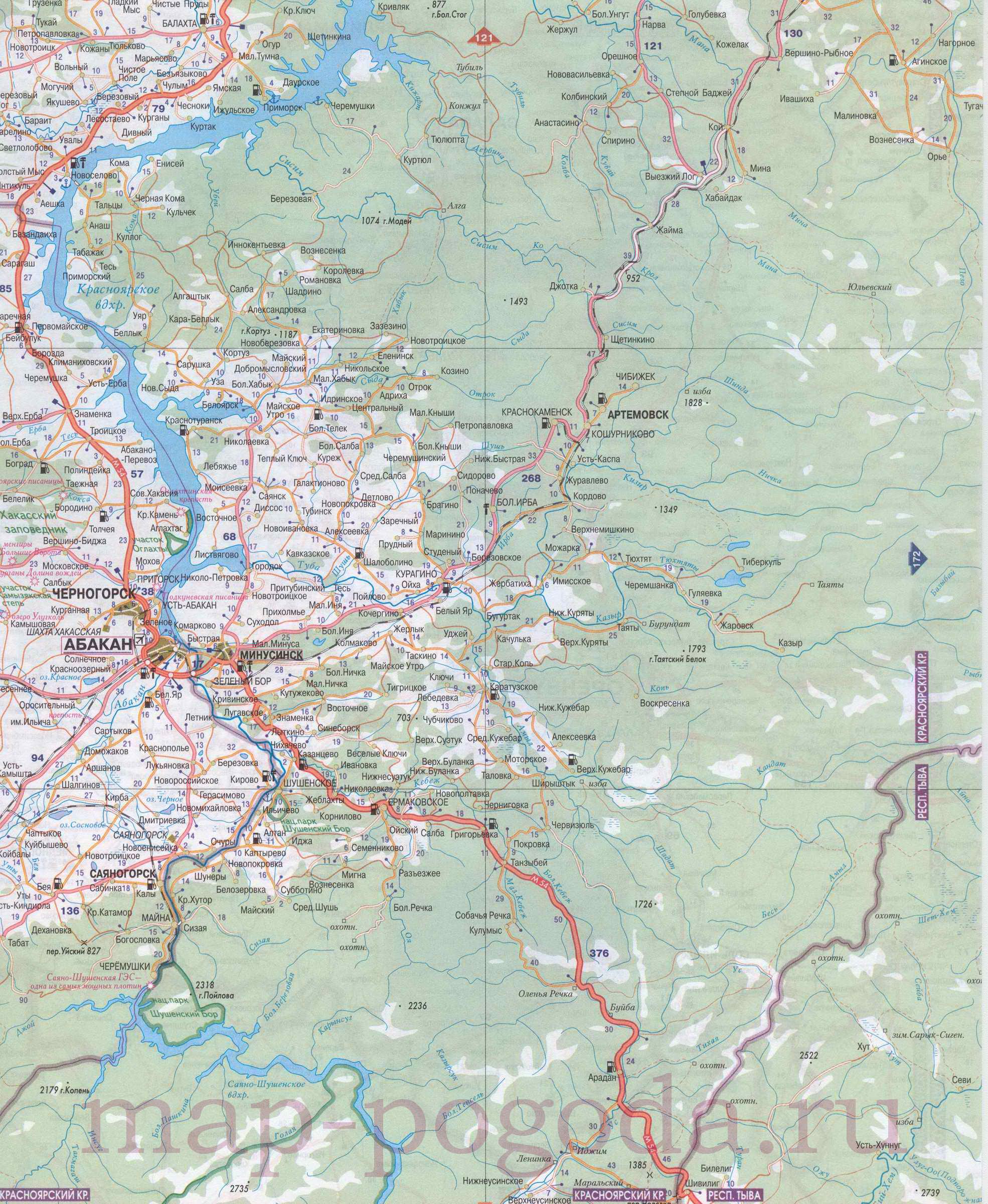 Подробная карта южной части Красноярского края масштаба 1см:14км.