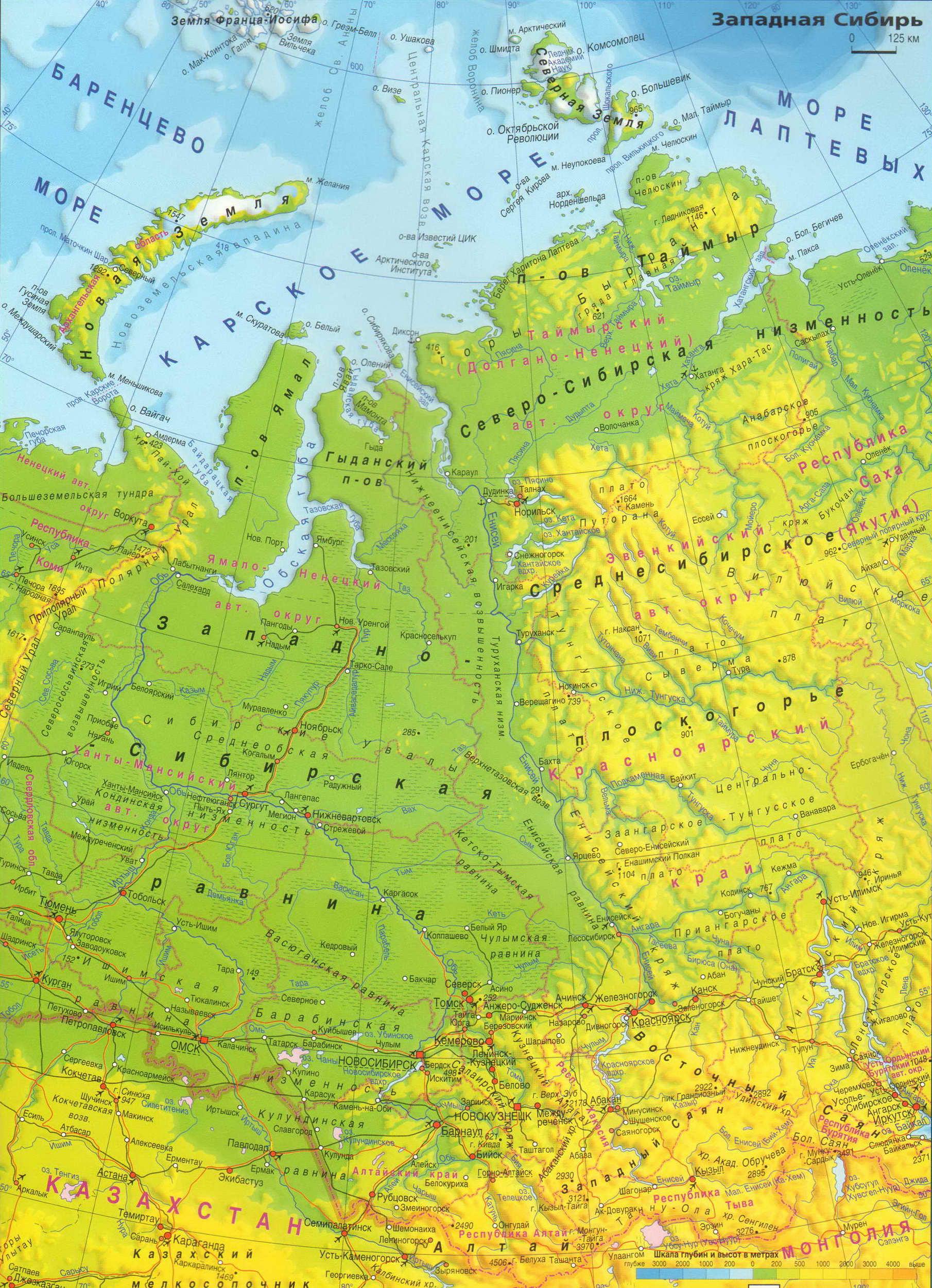 Подробная Карта Западной Сибири