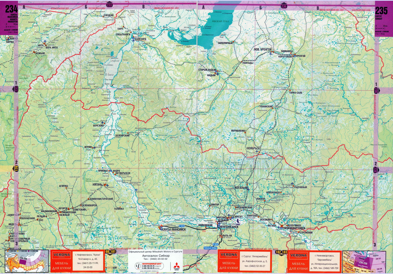 Карта ХМАО от Ханты-Мансийска до Салехарда.  Карта ХМАО масштаба 1см:30км.