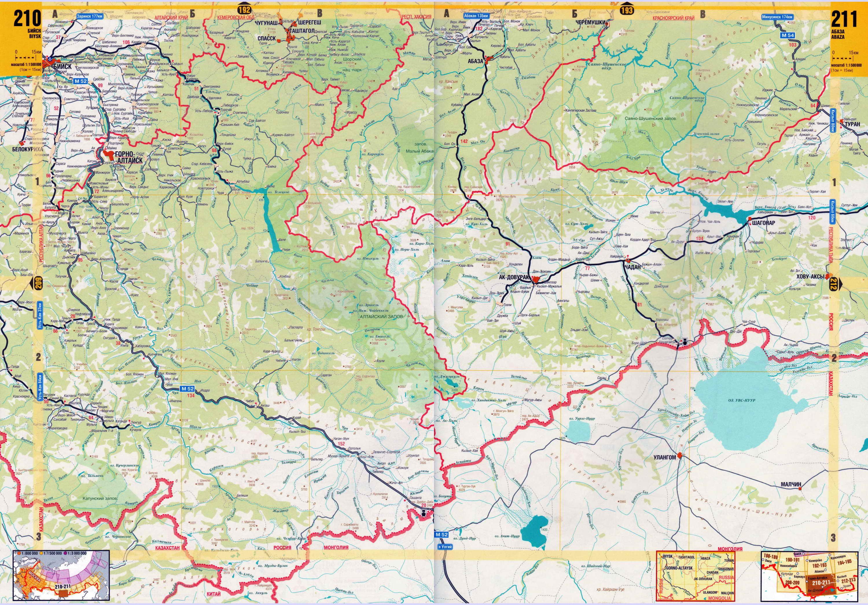 Карта Горного Алтая и Алтайского края - турбазы
