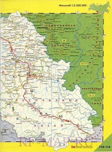 карта дорог Алтая с